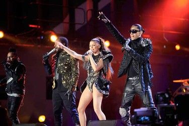 Members of the Black Eyed Peas perform during the opening concert for the 2010 World Cup at the Orlando Stadium in Soweto, Johannesburg June 10, 2010.     (REUTERS)