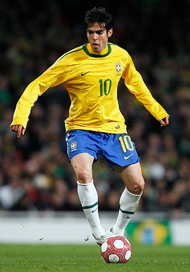 Kaka Country: Brazil. Position: Attacking Midfielder. Club Team: Real Madrid. Age: 28 Bio: Ricardo Izecson dos Santos Leite (AKA Kaka) was part of the Brazil squad that won the 2002 World Cup, although he only played 25 minutes in the tournament. He recently, and briefly, became the most expensive player in the world when he signed with Real Madrid for $95 million in 2009. That record was broken weeks later, however, when the club signed Cristiano Ronaldo for $132 million. (GLYN KIRK/AFP)