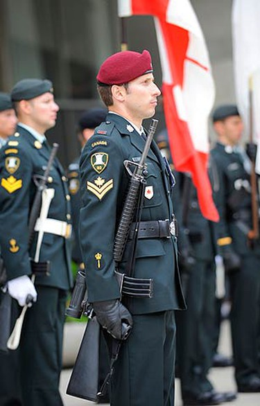It was an emotional scene in downtown Toronto as past and present members of the Canadian Armed Forces, as well as city officials, met at Nathan-Philips Square to commemorate the D-Day invasion of 1944. (CHRIS DOUCETTE, Toronto Sun)