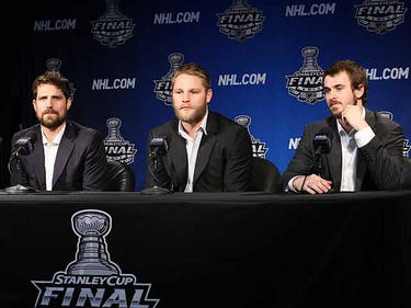 Patrick Sharp, Ben Eager and Dave Bolland speak to reporters during media availability in Wachovia Center in Philadelphia,  June 1, 2010. (Alex Urosevic/QMI Agency)
