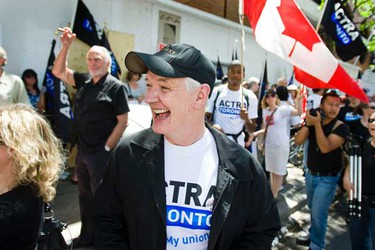 """Colin Mochrie joins Canadian actors as they rally  to tell Canadian broadcasters to """"BUY CANADIAN"""" in front of the Hazelton Hotel in Yorkville on June 1, 2010.     (Toronto Sun/Ernest Doroszuk)"""