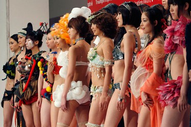Models display themed lingerie designs at the Triumph Inspiration Awards Japan lingerie design competition at the Bunka Fashion College in Tokyo May 21, 2010. The competition was held for students in a quest for a fresh perspective of lingerie. The winner of the Japan competition will take part in the international final taking place in London, the organization said. (Kim Kyung-Hoon/REUTERS)