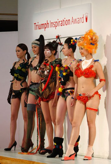 Models display themed lingerie designs at the Triumph Inspiration Award Japan lingerie design competition at the Bunka Fashion College in Tokyo May 21, 2010. The competition was held for students in a quest for a fresh perspective of lingerie. The winner of the Japan competition will take part in the international final taking place in London, the organization said. (Kim Kyung-Hoon/REUTERS)