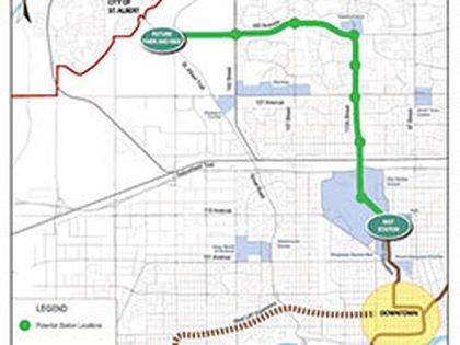 The city's proposed LRT route to St. Albert. (Supplied)