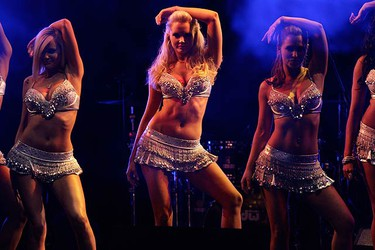 Playmate Dancers perform during Playboy magazine's Playmate of the Year celebration at the Palms Casino Resort in Las Vegas, Nevada May 15, 2010. Hope Dworaczyk, 25, Playboy magazine's 2010 Playmate of the Year, is featured in the June issue of Playboy magazine and in the magazine's first 3-D centerfold.  (REUTERS)
