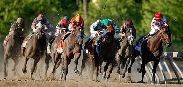 Jockey Martin Garcia (C) rides to a win the 135th Preakness horse race aboard Lookin At Lucky at Pimlico race track in Baltimore, Maryland May 15, 2010.   (REUTERS)