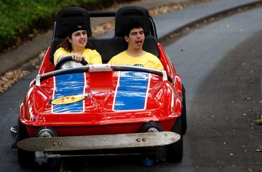 Nicole Filippeli and Patrick Mikas drive a car during the 21st Annual Dreams Take Flight trip to Disney May 12th, 2010. (Dave Abel/Toronto Sun)