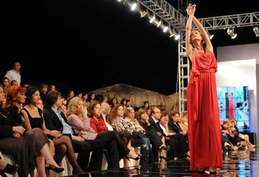 Models present swimsuits by Diamony during a fashion show at a resort hotel in Dbayeh, north of Beirut, May 12, 2010. (REUTERS)