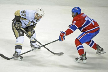 Pittsburgh's Sidney Crosby tries to get by Montreal's P.K. Subbban during the third period of Game 6 Monday night, May 10, at the Bell Centre in Montreal. The Canadiens won 4-3 to force a Game 7. (ERIC BOLTE QMI Agency)