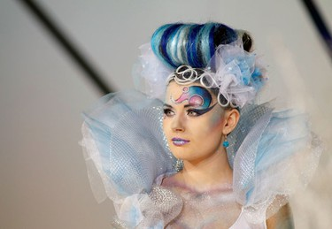 A model shows a hairstyle during the Crystal Angel Festival in Kiev April 14, 2010. The annual international competition of hairdressers, fashion and design started in the Ukrainian capital today.   (REUTERS)