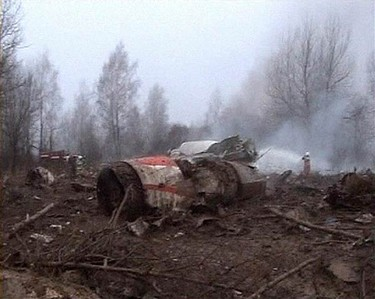 Image from video footage shows firefighters working to extinguish the flames near the wreckage of a Polish government Tupolev Tu-154 aircraft after it crashed near Smolensk airport in western Russia on April 10, 2010. Poland's President Lech Kaczynski, its central bank head and the country's military chief were among 97 people killed when their plane crashed in thick fog on its approach to a Russian airport.  (REUTERS)