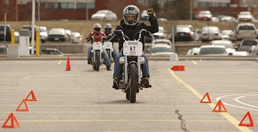 Bikers took to the first class of the 2010 Humber College M2 licensing course giving students that have ridden before, or never sat on a motorcycle, the skills to ride safely and confidently. (JACK BOLAND, Toronto Sun)