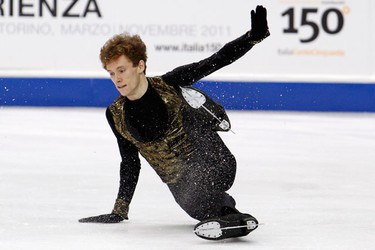 Pavel Kaska of the Czech Republic falls during the Men's short program event at the World Figure Skating Championships in Turin March 24, 2010. (REUTERS)