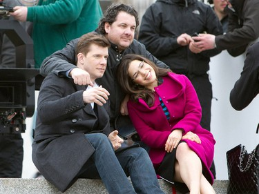 America Ferrera and Eric Mabius on location for the final episode of 'Ugly Betty' in Trafalgar Square. (WENN.com)