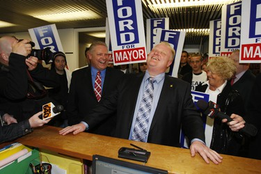 City Councillor Rob Ford at City Hall to file his papers to run for Mayor of Toronto.  (Toronto Sun/Craig Robertson)