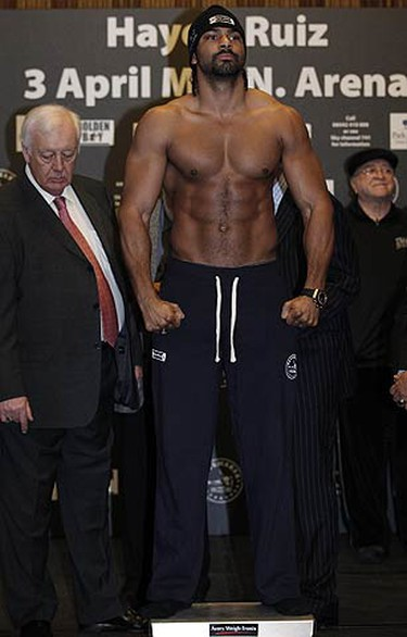 Britain's David Haye stands on the scales at the weigh-in at Manchester town hall northern England on April 2, 2010. Ruiz will fight Haye at the MEN Arena in Manchester Saturday. (REUTERS)