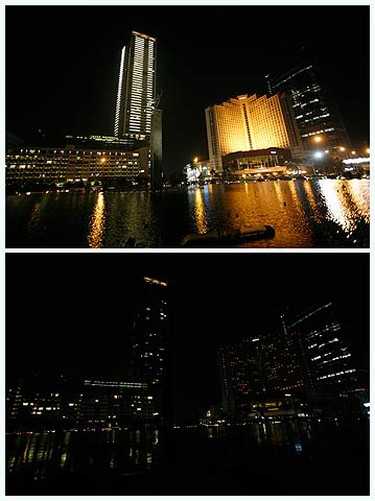 A combination picture shows the Welcome Statue fountain before (L) and during Earth Hour in Jakarta on March 27, 2010. Earth Hour, when everyone around the world is asked to turn off lights for an hour from 8.30 p.m. local time, shows support for tougher action on climate change.  (REUTERS)