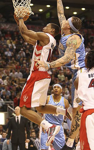 First half action as the Toronto Raptors battle the Denver Nuggets at the ACC on March 26, 2010. (STAN BEHAL, Toronto Sun)