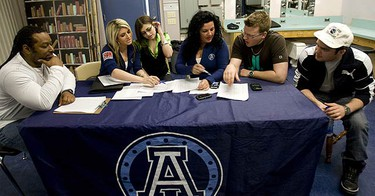 Here the judges deliberate over the final selections during the final auditions and selections for the 2010 Argo Cheerleaders presented by the Toronto Sun on March 20, 2010. (MARK O'NEILL, Toronto Sun)