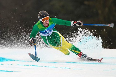 Australia's Toby Kane competes in the men's alpine skiing giant slalom standing race at the 2010 Paralympic Winter Games in Whistler, British Columbia on March 17, 2010.  (REUTERS)