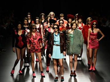 Models display creations by designer Maria Escote during the Cibeles Madrid Fashion Week Fall/Winter 2010 show in Madrid February 23, 2010. (REUTERS)