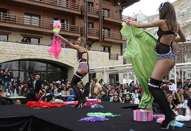 Models display creations by K-Lynn Lingerie during a fashion show held in Faraya Mzaar ski resort, Mount Lebanon, on March 6, 2010. (REUTERS)