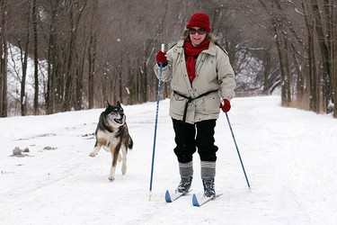 Geny Aass took advantage of the snow and went for a cross country ski along the Don River.  (CRAIG ROBERTSON, Toronto Sun)
