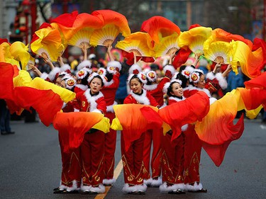 Dancers perform during the annual Chinese New Year parade in Chinatown in Vancouver on Feb. 14, 2010. (REUTERS)