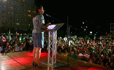 Laura Chinchilla, presidential candidate for National Liberation Party, speaks during celebrations of her victory in Costa Rica's presidential election in San Jose on Feb. 7, 2010. (REUTERS)