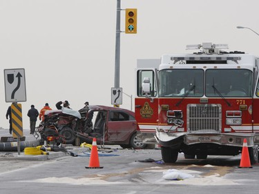 One man is dead after a collision between a car and a fire truck at Hwy. 400 and Major Mackenzie Dr. Tuesday.  (Toronto Sun/Jack Boland)