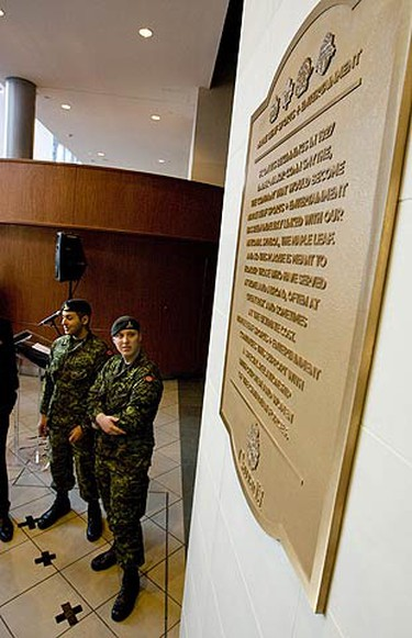 MLSE unveils a special plaque to honour Canadian veterans at the ACC in Toronto on Jan. 30, 2010. (GREG HENKENHAF, Toronto Sun)