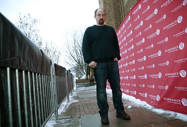 """Stand-up comedian and director Louis C.K. poses for a photograph as he arrives for the premiere of his film """"Hilarious"""" at the Sundance Film Festival in Park City, Utah Jan. 26, 2010. REUTERS/Robert Galbraith"""