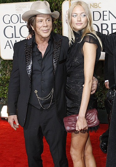 Actor Mickey Rourke arrives with model Elena Kuletskaya at the 67th annual Golden Globe Awards. (Mario Anzuoni, Reuters)