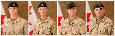 Private Garrett William Chidley, Corporal Zachery McCormack, Sergeant George Miok and Sergeant Kirk Taylor are seen in this combination picture made from undated handouts released to Reuters December 31, 2009. The four Canadian soldiers and Canadian journalist Michelle Lang were killed December 30, 2009 when their armored vehicle was hit by a bomb about four km (2.5 miles) outside the city of Kandahar, the Canadian Defence Ministry said.    (REUTERS)