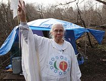 The Peace Lady has lived in the woods under a tarp for the last 25 years. (Craig Robertson, Sun Media)