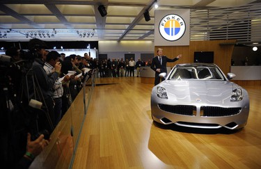 Henrik Fisker, Founder and CEO of Fisker Automotive, talks about the Fisker Karma during a news conference at the LA Auto show in Los Angeles December 3, 2009. REUTERS/Phil McCarten
