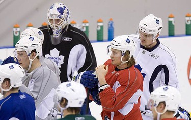 The Leafs are put through a tough practice following a loss in Carolina on Nov. 20, 2009 in Toronto.  (GREG HENKENHAF, Sun Media)