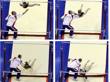 A combination picture shows Pauline Morel of France being caught by her coach as she falls during her warm up routine performance on the uneven bars during the qualifying round of the Gymnastics World Championships at the O2 Arena in London October 14, 2009. (REUTERS)