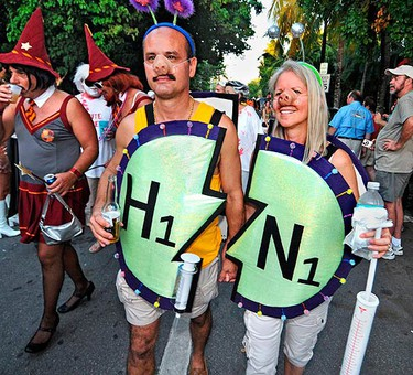 Revellers walk during the Fantasy Fest Masquerade March in Key West, Florida. (REUTERS)
