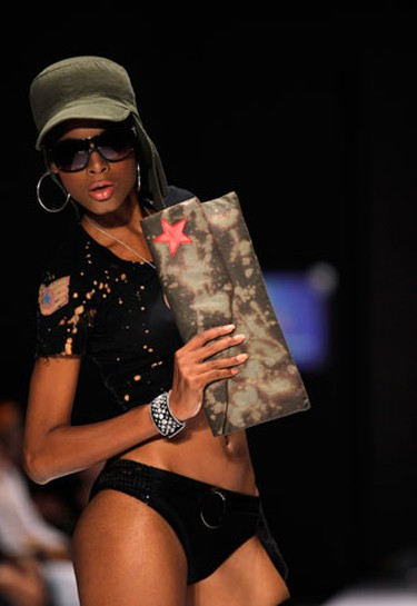 A model displays a creation by Puerto Rico designer Ecliptica at a fashion show during the Dominicana fashion week in Santo Domingo October 20, 2009. (REUTERS)