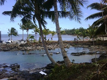 A view of the Sinalei resort, south of Apia, capital of Samoa, after it was struck by a tsunami Sept. 29, 2009.  REUTERS/via Your View
