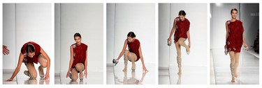 A combination photograph of a model reacting after she falls during the Mila Schon Spring/Summer 2010 women's collection show during Milan Fashion Week September 29, 2009. (REUTERS)