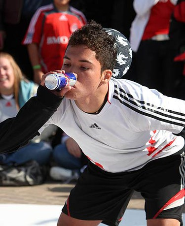 Competition winner Jose Avalos, drinks a Red Bull during one of his battles at the Red Bull Street Style Competition prior to Toronto FC's match on Oct. 10, 2009 at BMO Field. (CRAIG ROBERTSON, Sun Media)