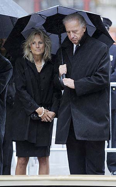 U.S. Vice President Joe Biden and his wife Jill Biden visit the reflecting pool during the eighth anniversary commemoration ceremony of the 9/11 attacks on the World Trade Center at Ground Zero in New York, Sept. 11, 2009.  REUTERS/Peter Foley/Pool