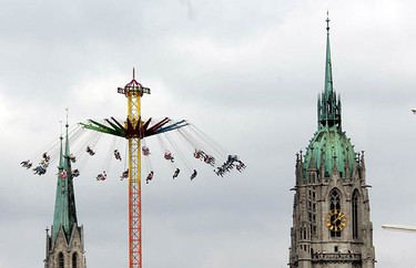 Visitors ride a merry-go-round after the opening ceremony of Munich's 176th Oktoberfest in Munich on Sept. 19, 2009. Millions of beer drinkers from around the world will come to the Bavarian capital over the next two weeks, for the world's biggest and most famous beer festival, the Oktoberfest.  (REUTERS)