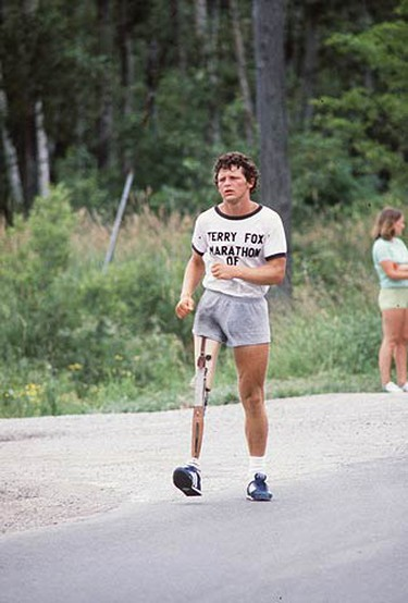 In this file photo, Terry Fox runs his Marathon of Hope. At the time, few Canadians had heard of Fox. But that simple gesture marked the baptism of a national hero. Tomorrow, runners will take to streets across Canada to commemorate Terry Fox's run.  (SUN MEDIA FILES)