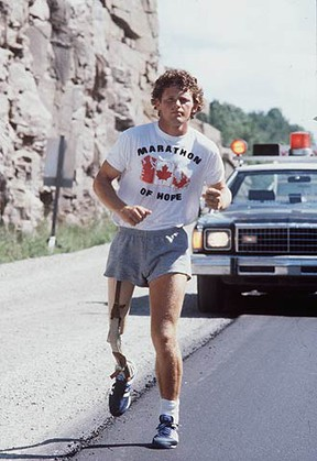 Terry Fox runs his Marathon of Hope. At the time, few Canadians had heard of Fox. But that simple gesture marked the baptism of a national hero.  (SUN MEDIA FILES)