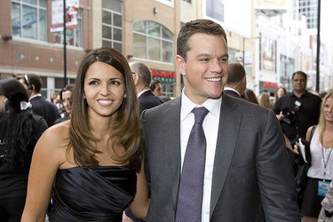 Matt Damon arrives at the Elgin Theatre for the Opening of The Informant with his wife Luciana Barroso at the Toronto International Film Festival on Sept. 11, 2009. (STAN BEHAL, Sun Media)