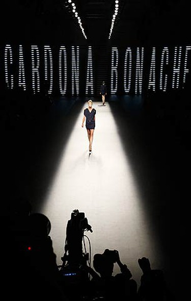 A model presents a creation from the Cardona Bonache collection at the 080 Barcelona fashion show on Sept. 3, 2009.  (REUTERS)