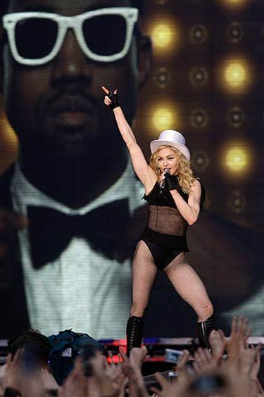 Singer Madonna performs during her Sticky and Sweet tour at the Dvortsovaya square in St. Petersburg on Aug 2, 2009.  (REUTERS)